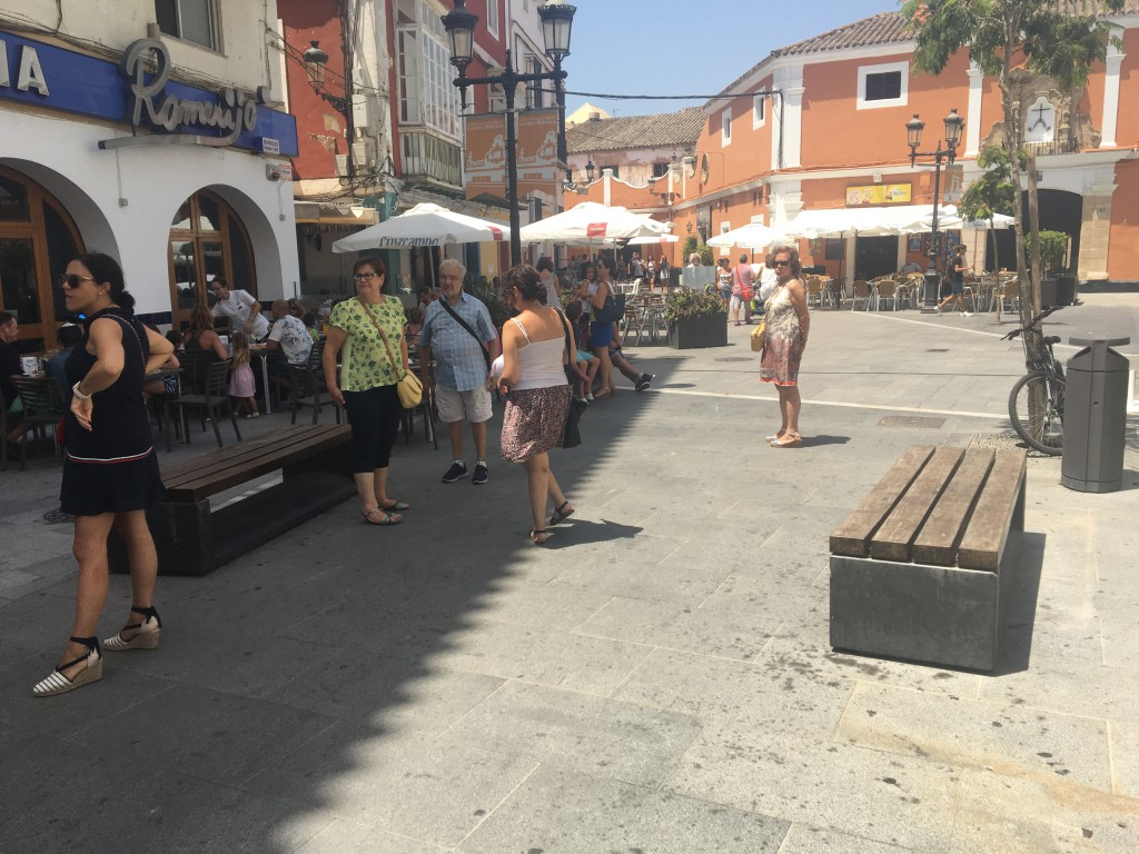 The route had me biking through this town square.