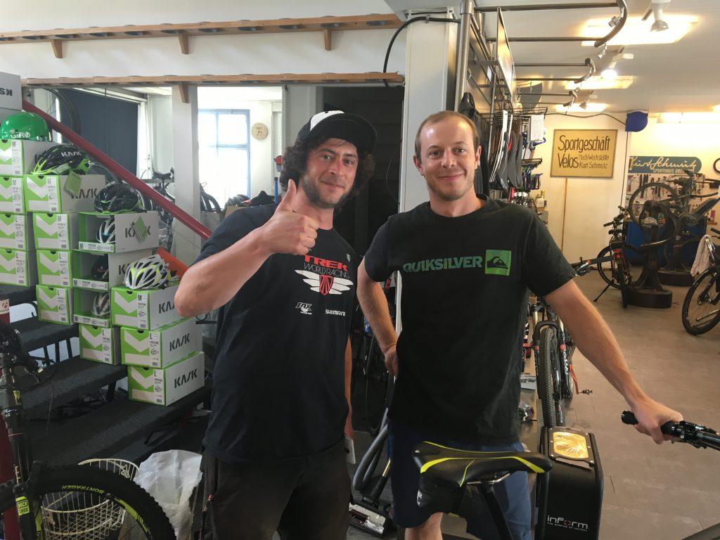 Two helpful folks from a bike shop