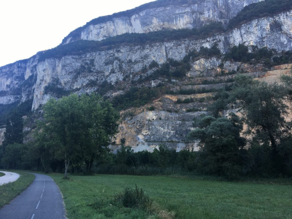 Sheer-faced cliffs surrounding the river