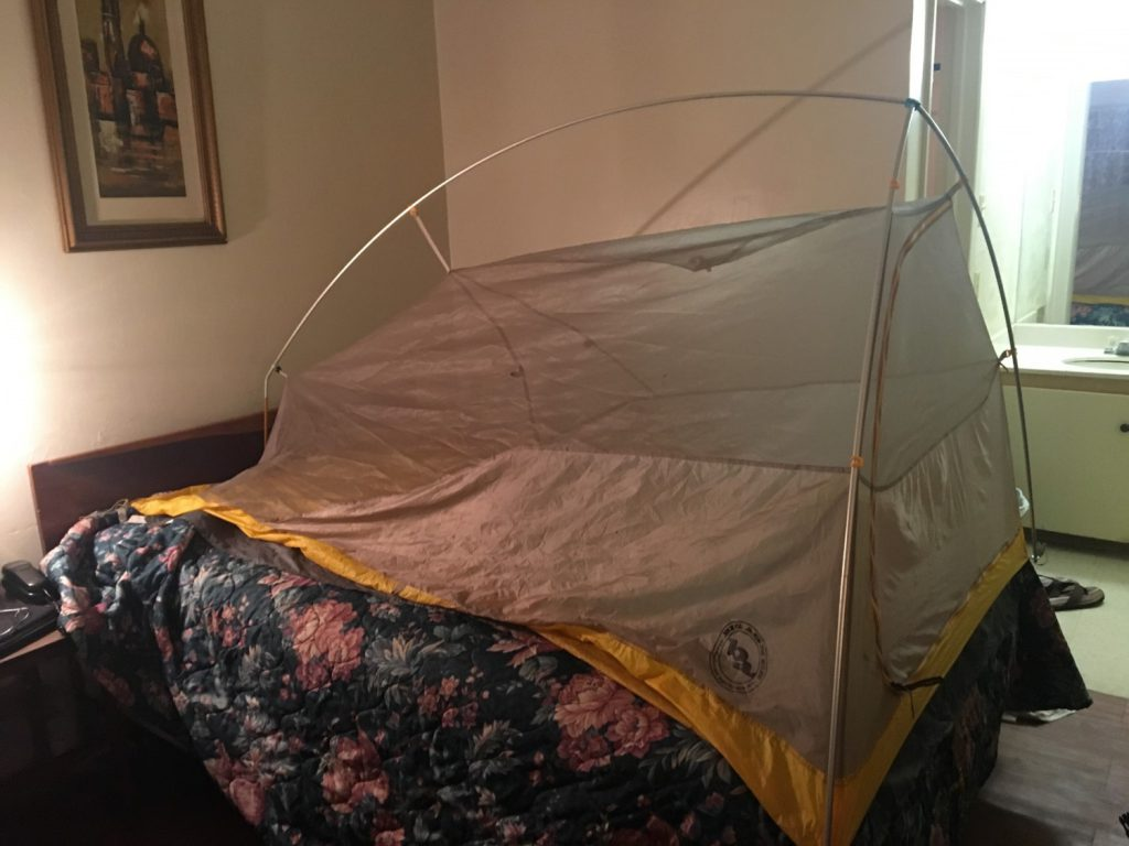 Pitching a tent in my hotel room