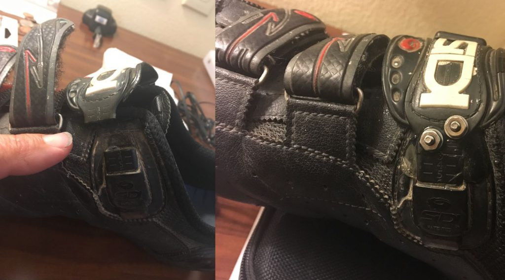 My shoe before (left) and after (right) today's repair job.