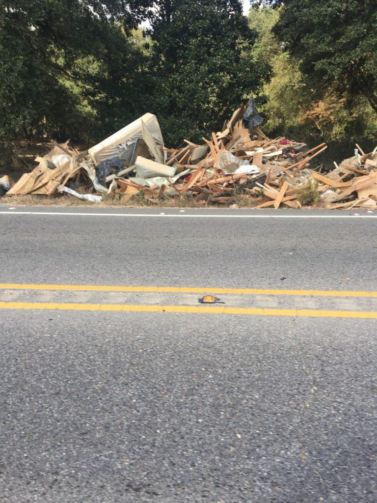 Debris from a recent flood.