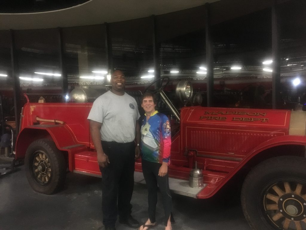 Fred--a firefighter--and myself in front of their show truck.